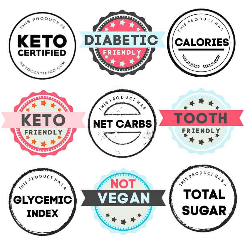 Sweetener glycemic index, net carbs, total sugar