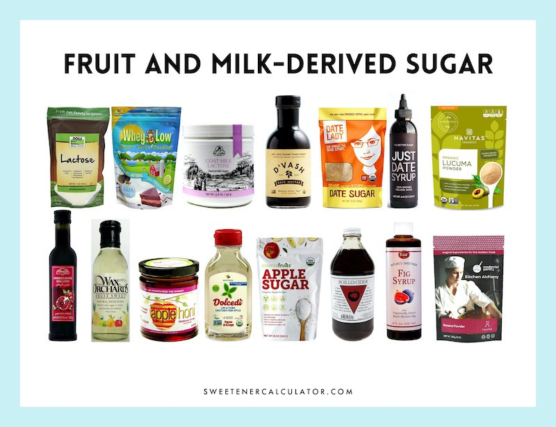 sugars and syrups made from fruits and milk