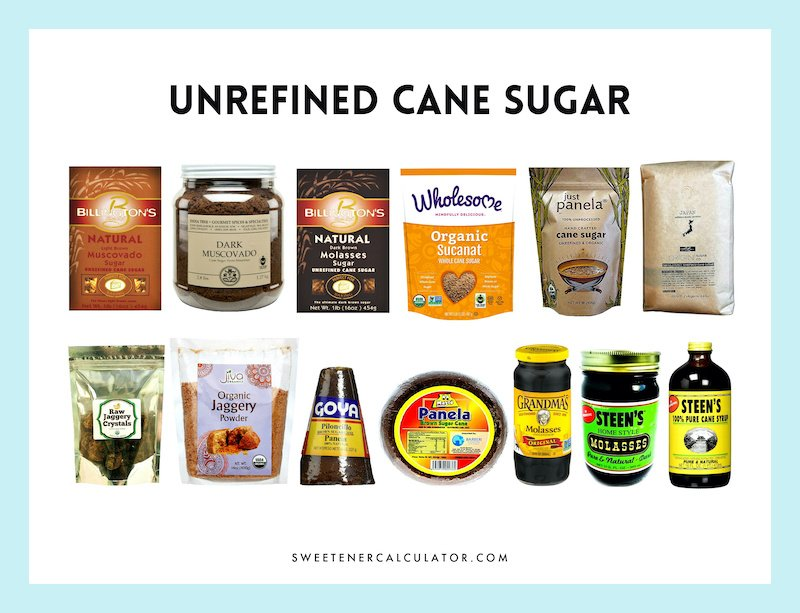 Unrefined sugars and syrups made from sugarcane